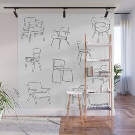 Mid Century Chairs Print Black and white Wall Mural