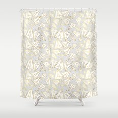 Paper Airplanes Faux Gold on Grey Shower Curtain