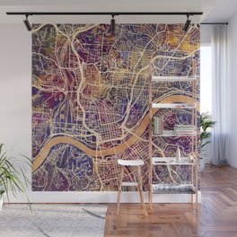 Cincinnati Ohio City Map Wall Mural