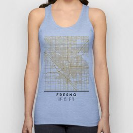 FRESNO CALIFORNIA CITY STREET MAP ART Unisex Tank Top