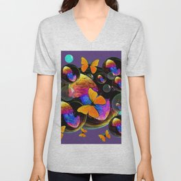 COLORFUL FUN  BUBBLES & YELLOW BUTTERFLIES PURPLE FANTASY Unisex V-Neck