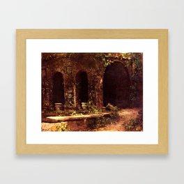 Carl Blechen - Grotto in The Park of The Villa d'Este near Rome - German Romanticism - Oil Painting Framed Art Print