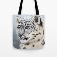 snow leopard Tote Bags featuring Snow Leopard by Aaron Jason