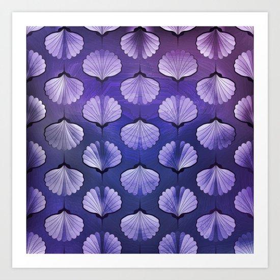 Blue sea geometric pattern texture on blurred background. Graphic illustration of seashells template Art Print