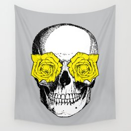 Skull and Roses | Grey and Yellow Wall Tapestry