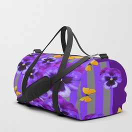 DECORATIVE GOLDEN YELLOW BUTTERFLIES PURPLE PANSY PILLOW ART Duffle Bag