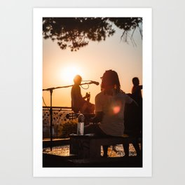 Musician Playing Guitar at Sunset - Lisbon, Portugal Art Print