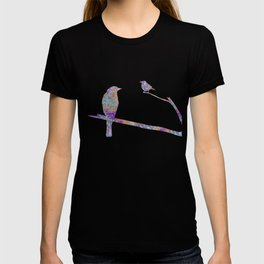 Bird and Birdie on Branches Chartreuse Purple Orange Turquoise Teal T-shirt