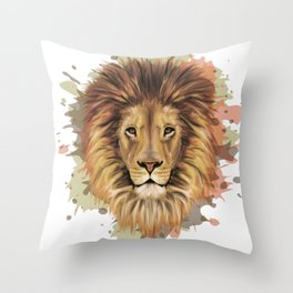 Stylized Lion Portrait | Digital animal art print Throw Pillow