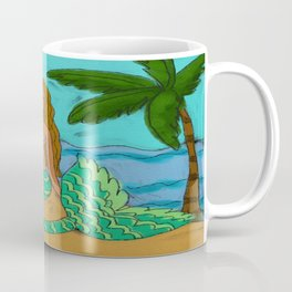 Mermaid Under a Palm Tree Coffee Mug