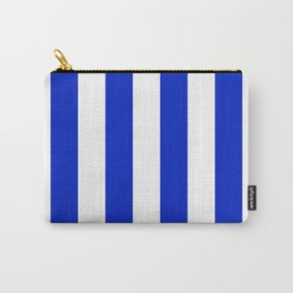 Cobalt Blue and White Wide Circus Tent Stripe Carry-All Pouch