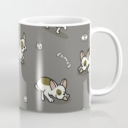 Sweet Frenchie Bulldog Puppies Pattern Grey Background Coffee Mug
