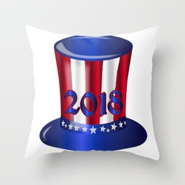 Uncle Sam 2018 Flag Hat Throw Pillow