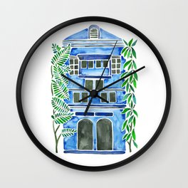 Tropical Blue House Wall Clock