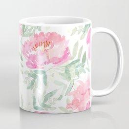 Watercolor Peonie with greenery Coffee Mug