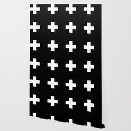 Swiss Cross Black Wallpaper