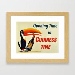 Vintage Beer  Poster - Opening Time is Guinness Time - Beer/Drinks Vintage Poster Framed Art Print