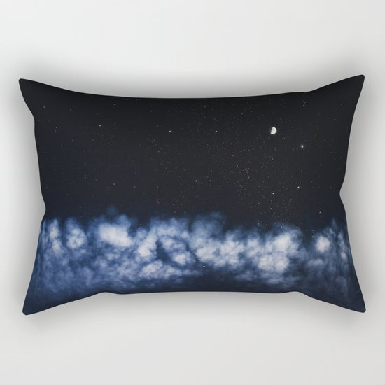 Contrail moon on a night sky Rectangular Pillow