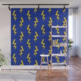 Lightning bolt fun pattern decor blue and gold boys room nursery superhero Wall Mural