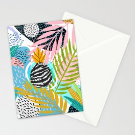 abstract palm leaves Stationery Cards