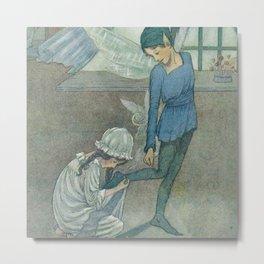 """""""Wendy and Peter"""" by Hilda Miller 1915 Metal Print"""