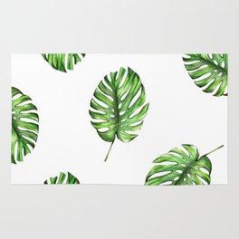 Monstera green leaves Rug