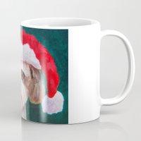 shih tzu Mugs featuring Christmas Shih Tzu By Annie Zeno by Annie Zeno