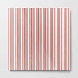 Dusty Rose Pink and White Vertical Stripes Metal Print