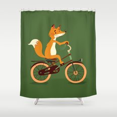 Little fox on the bike Shower Curtain