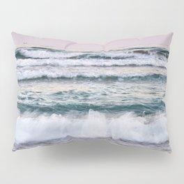 Beautiful waves. Sunset at the beach. Pillow Sham