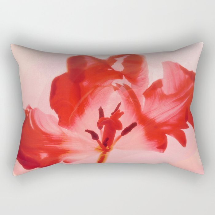 Transparent Red Flower Rectangular Pillow