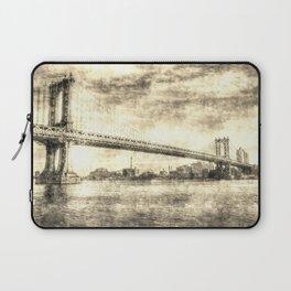 Manhattan Bridge New York Vintage Laptop Sleeve
