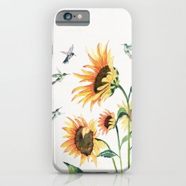 Sunflowers and Hummingbirds iPhone Case