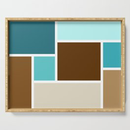 Mid Century Modern Color Blocks // Caribbean Blue, Ocean Blue, Dark Brown, Coffee Brown, Khaki Serving Tray