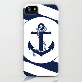 Nautical Anchor Navy Blue & White Stripes Beach iPhone Case