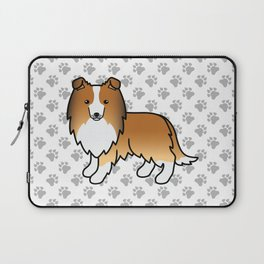 Sable Shetland Sheepdog Dog Cartoon Illustration Laptop Sleeve
