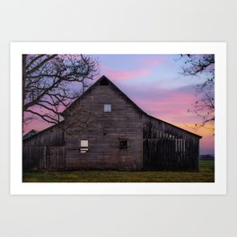 Rural Skies of Dusk - Rustic Barn Photography Art Print