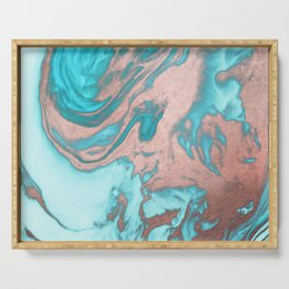 Artsy Chic Rose Gold Aqua Mint Blue Marble Pattern Serving Tray