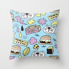 Cat Jams Throw Pillow