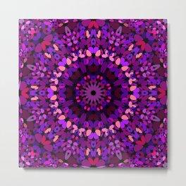 Purple Petal Garden Mandala Metal Print