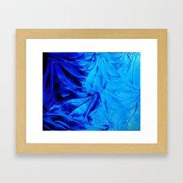 PETAL PINWHEELS - Deep Indigo Blue Royal Blue Turquoise Floral Pattern Swirls Ocean Water Flowers Framed Art Print