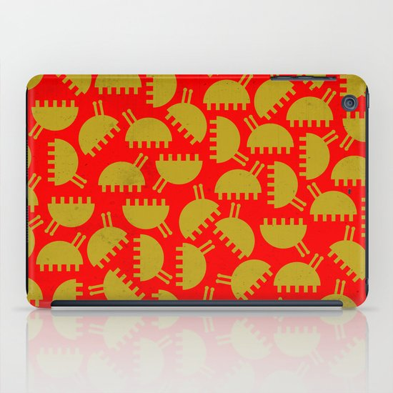 Happy green bugs on red. iPad Case