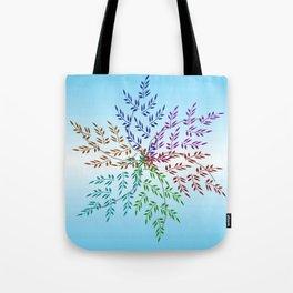 Leafy Rainbow Mandala Tote Bag