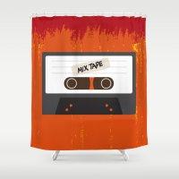 cassette Shower Curtains featuring Cassette by Ruveyda & Emre
