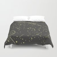 space cat Duvet Covers featuring Space Cat by art3d