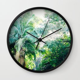 Lost in the jungle bright green tropical palm tree forest photography Wall Clock