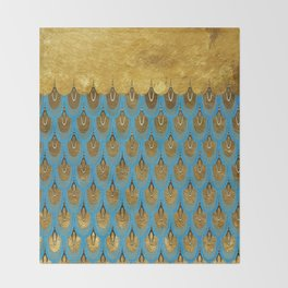 Blue and Gold Mermaid Scales Dreams Throw Blanket