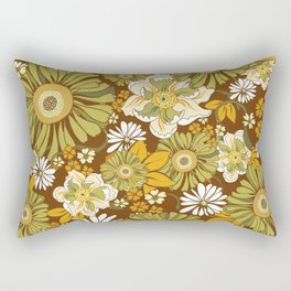 70s Retro Flower Power boho pattern Rectangular Pillow