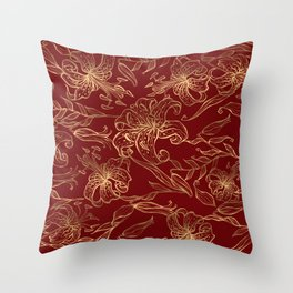 Gold flowers pattern on a burgundy background Throw Pillow