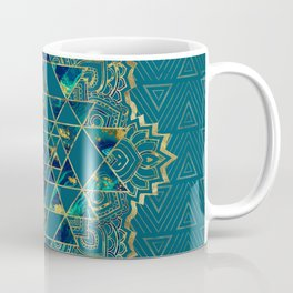 Sri Yantra  / Sri Chakra Gold, Marble and Teal Coffee Mug